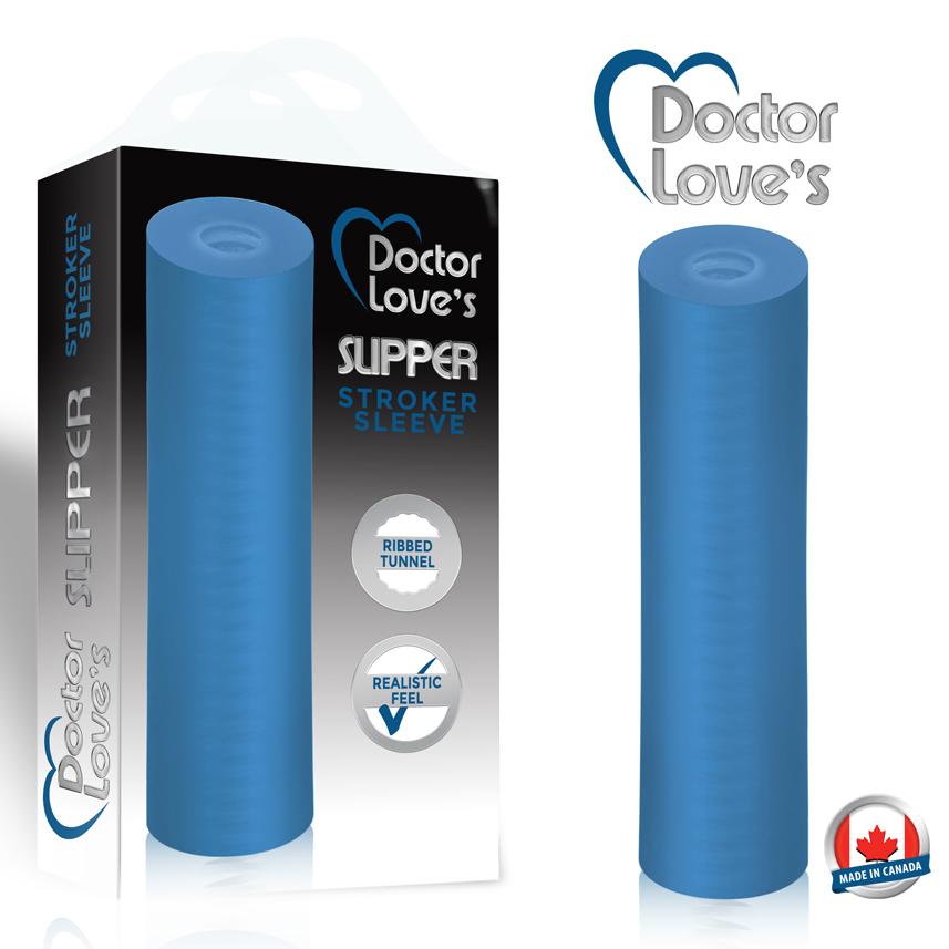 Ribbed-Stroker-Sleeve-Blue-Transparent