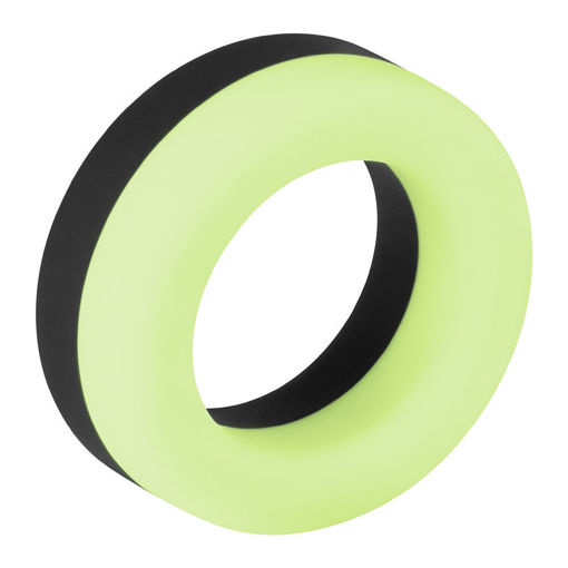 Image de F-19: 100% LIQUID SILICONE 2 TONE C-RING - Noir et Glow in the dark