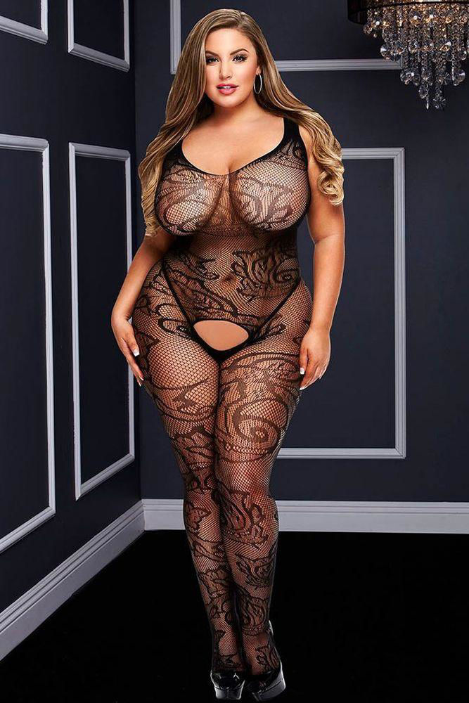 Image de Filigree Lace Crotchless Bodystocking - OS/XL