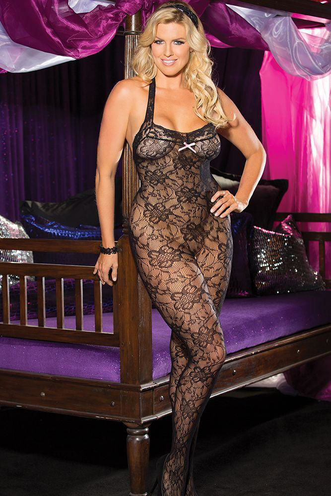 Image de Halter Stretch Lace Open Front Bodystocking OS/XL