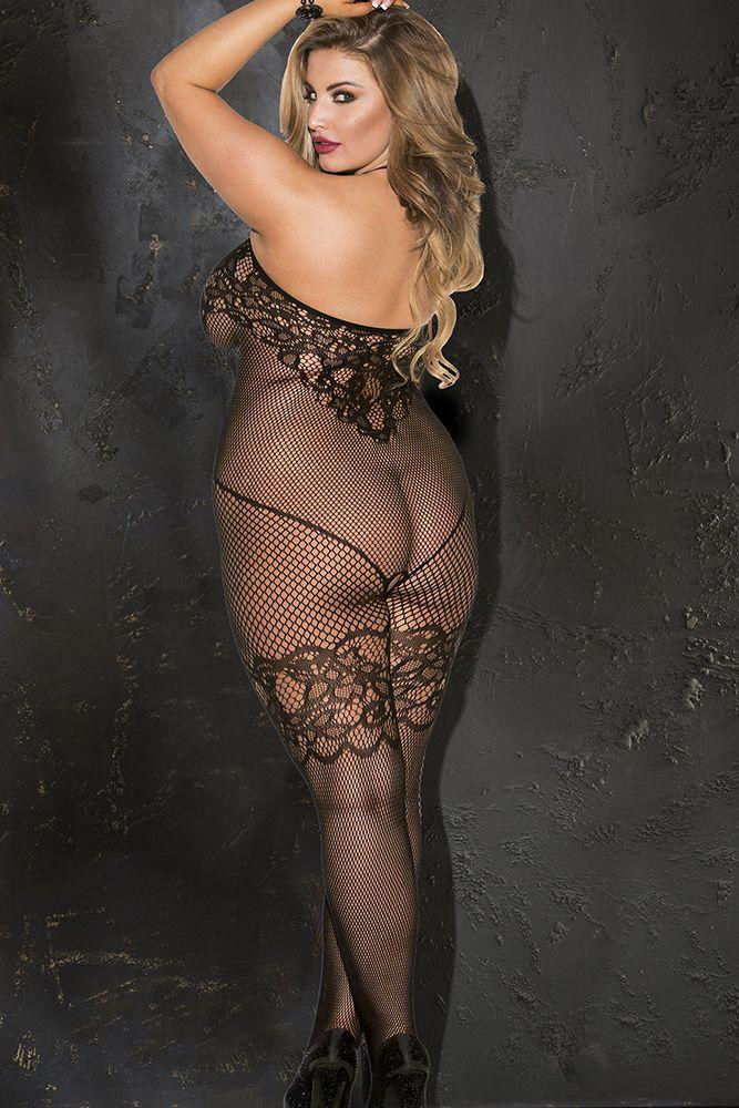 Image de Jacquard Patterned Fishnet Open Front Bodystocking - OS/XL