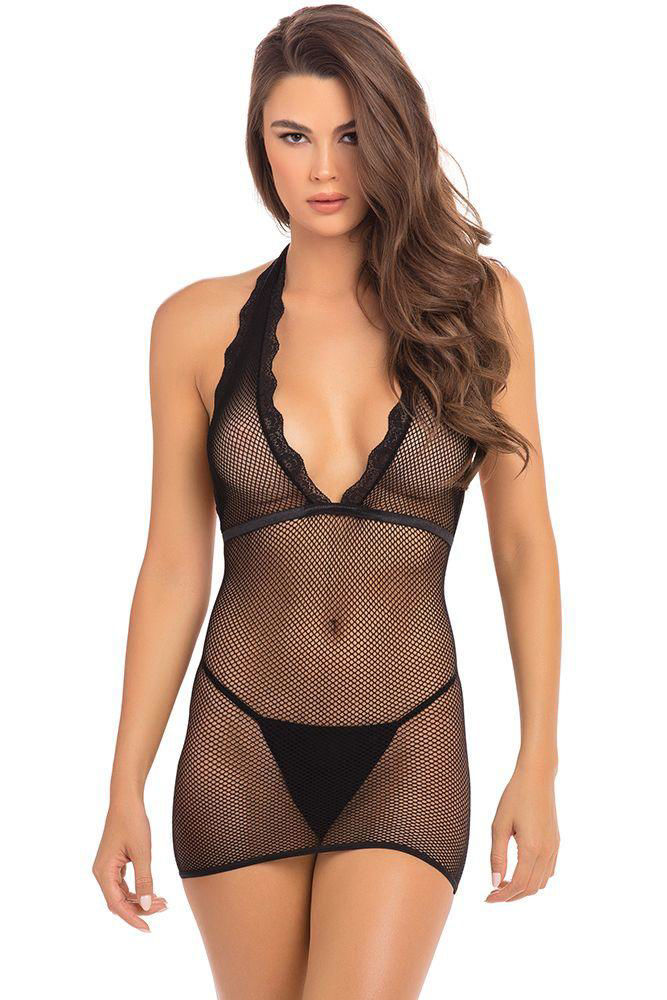 Image de Take Me Fishnet Mini Dress - OS