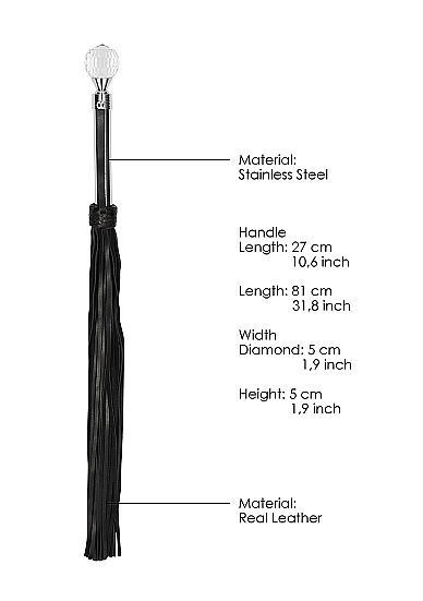 Image de Sparkling Round metal Handle Leather Flogger - Black