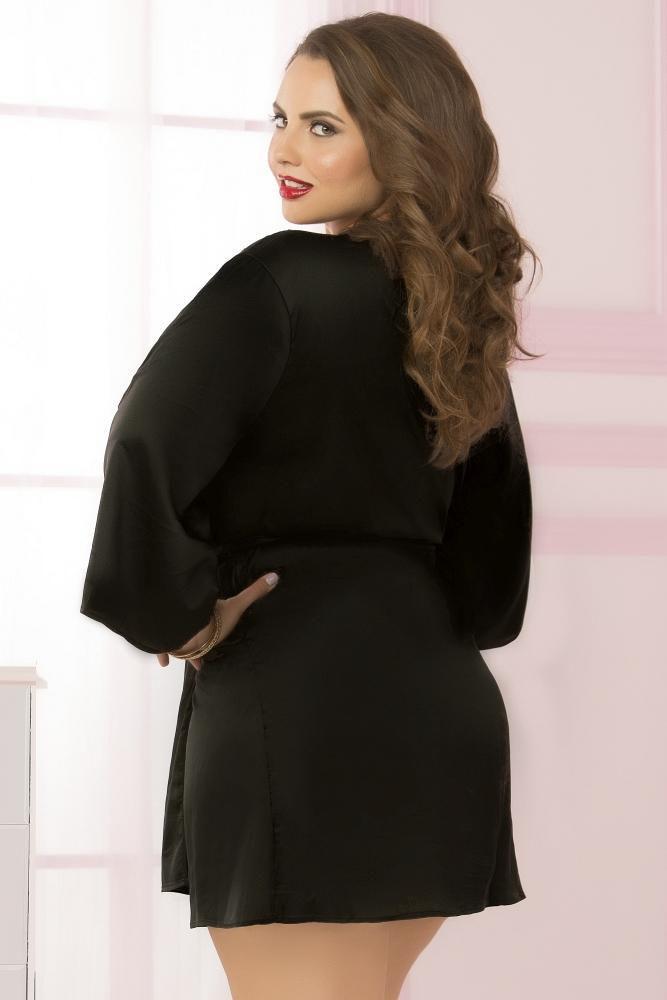 Image de Black Satin and Eyelash Lace Robe OSXL