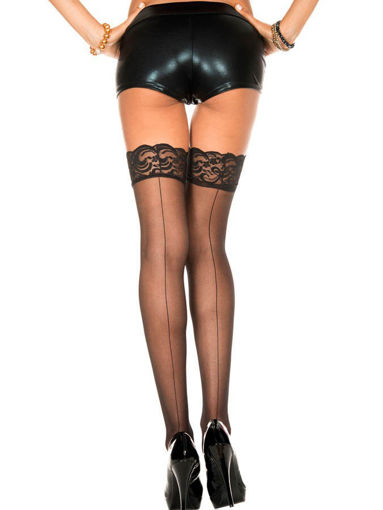 Image de Backseam sheer spandex thigh hi with silicon lace top.- STAY UP - OS