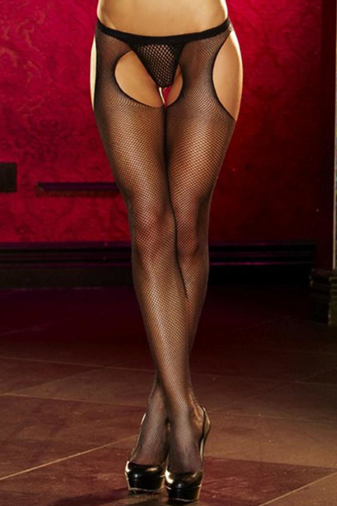 Image de Crotchless Black Fishnet Pantyhose OS