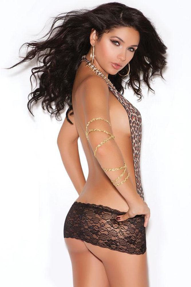 Image de Leopard and Lace Backless Mini Dress OS