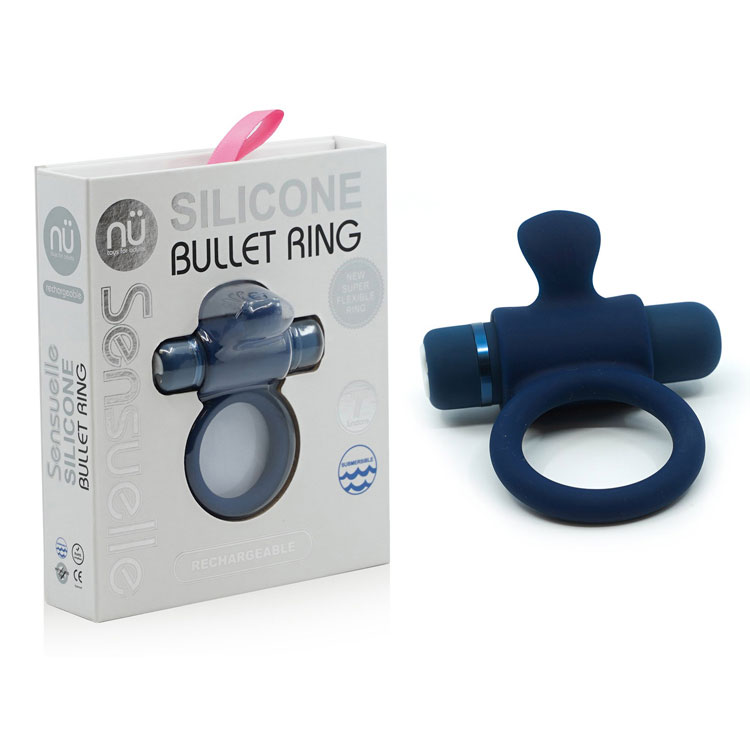 SENSUELLE-SILICONE-BULLET-RING-NAVY-BLUE