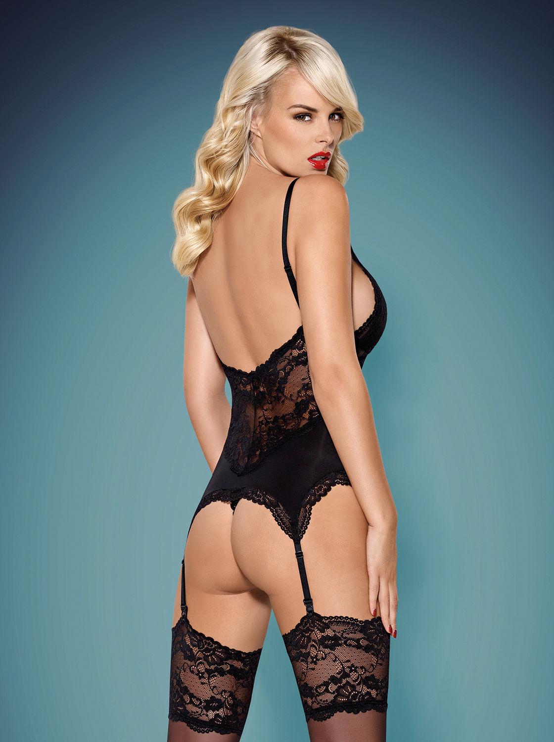 Image de 810-COR - Lace Corset & Matching Thong (In Black or White) - L/XL
