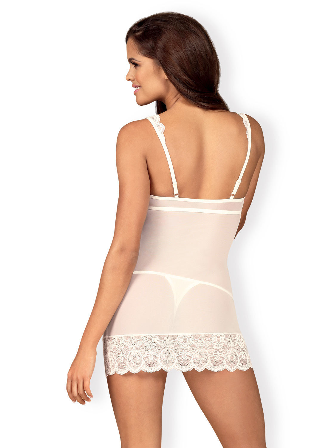 Image de 853-CHE - Chemise & Matching Thong (in Black or White) - L/XL