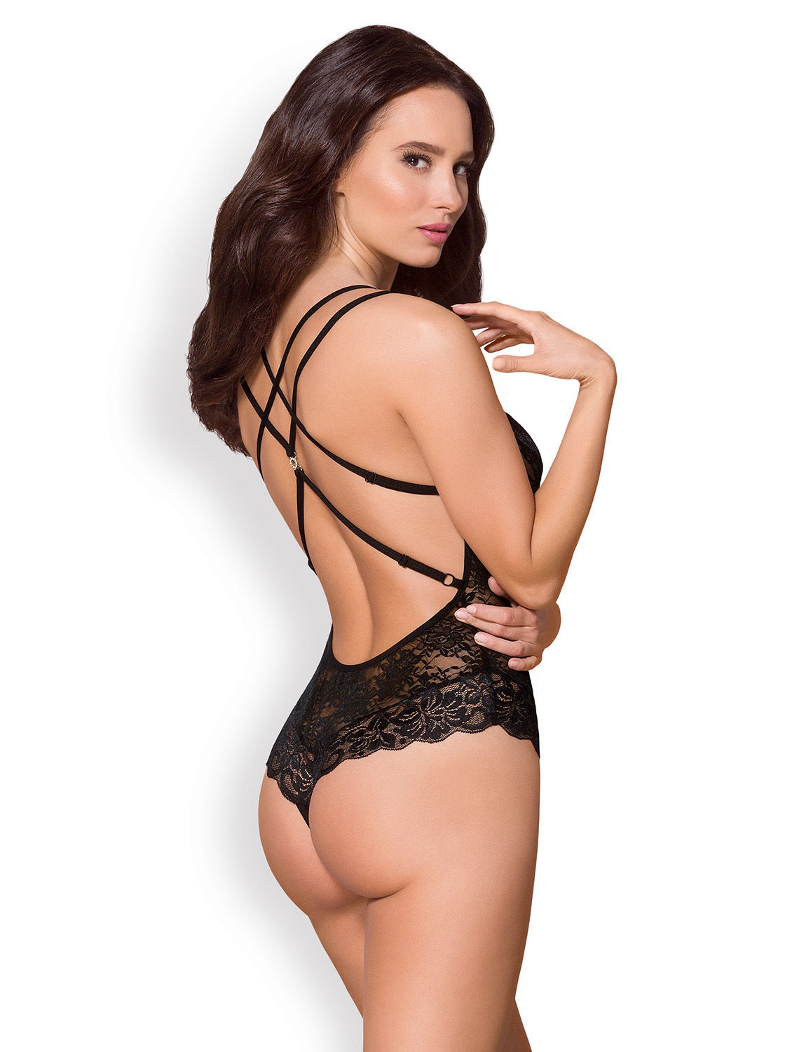 Image de 860-TED- Lace Teddy With Straps (In White, Black) - S/M