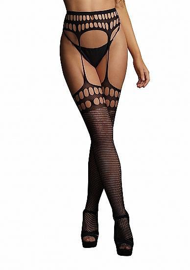 Image de Garterbelt stockings with open design - Black - O/S